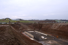 Construction work at Donington Park, January 2009