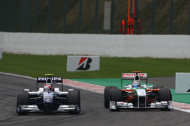 Kazuki Nakajima, Williams and Adrian Sutil, Force India, Spa 2009