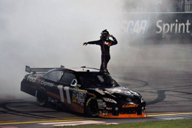 Denny Hamlin celebrates Richmond victory 2009