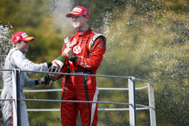 Luiz Razia and Nico Hulkenberg on the Monza podium