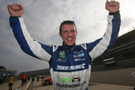 Jason Plato celebrates Rockingham pole