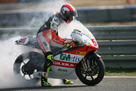 Marco Simoncelli celebrates Estoril win