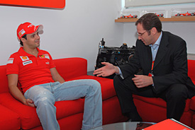 Felipe Massa and Stefano Domenicali at Maranello