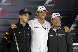 Sebastian Vettel, Jenson Button, Rubens Barrichello