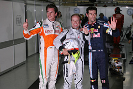 Adrian Sutil, Rubens Barrichello, Mark Webber