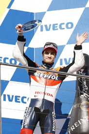 Dani Pedrosa on the Phillip Island podium 2009