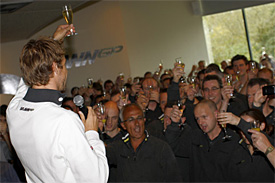 Jenson Button at the Brawn factory