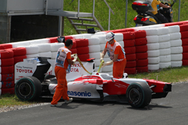 Jarno Trulli's crashed Toyota at Catalunya 2009