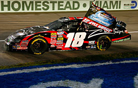 Homestead-Miami winner Kyle Busch celebrates winning the Nationwide Series title, 2009