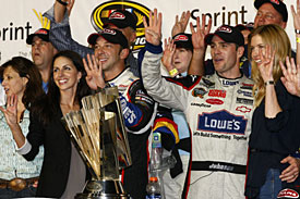 Jimmie Johnson celebrates his fourth title with his team at Homestead, 2009