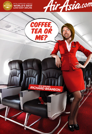 Lotus' mock-up of Richard Branson as an Air Asia stewardess