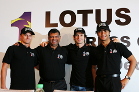 Heikki Kovalainen, Jarno Trulli, Tony Fernandes and Fairuz Fauzy at the Lotus driver announcement