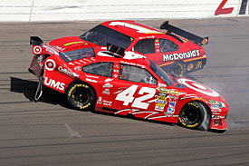 Juan Pablo Montoya and Jamie McMurray after contact, Las Vegas, 2010