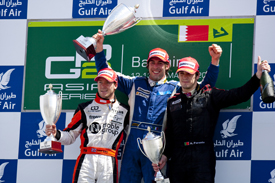 Sam Bird, Giacomo Ricci and Alvaro Parente on the Sakhir podium 2010
