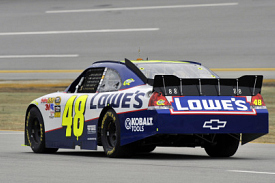 Jimmie Johnson tests the new Sprint Cup spoiler
