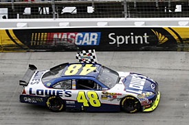 Jimmie Johnson celebrates his 50th Sprint Cup win, Bristol, 2010