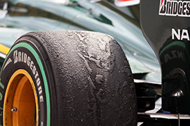 Graining rear tyres on the Lotus
