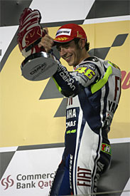 Valentino Ross celebrates on the podium in Qatar