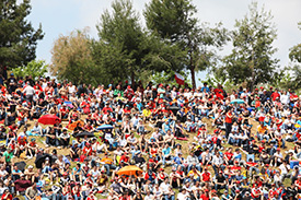 Fans pack the Barcelona grandstands