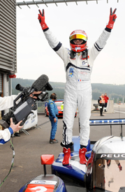 Simon Pagenaud celebrates Peugeot's Spa win