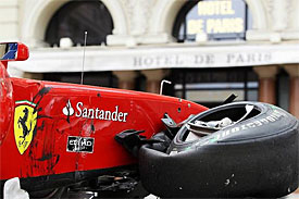 Fernando Alonso's damaged car in Monaco