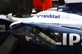 Nico Hulkenberg's damaged Williams