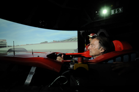 Luca di Montezemolo in the Ferrari simulator