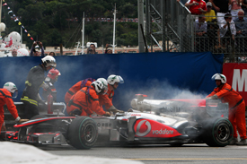 Jenson Button's overheating car in Monaco