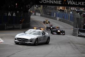 The safety car leads the field in Monaco