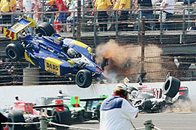 Mike Conway crashes out of the 2010 Indianapolis 500
