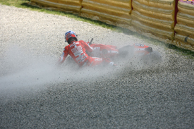 Casey Stoner crashes in Mugello practice