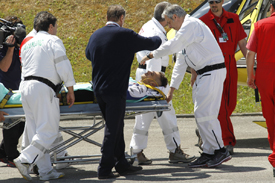 Valentino Rossi is taken to hospital after his Mugello crash