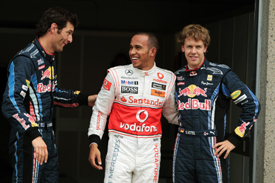 Mark Webber, Lewis Hamilton and Sebastian Vettel after Montreal qualifying