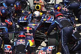 Sebastian Vettel during a pitstop in Canada