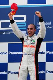 Pastor Maldonado on the Valencia podium