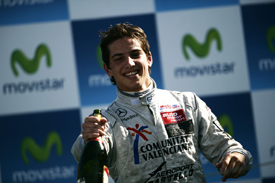 Roberto Merhi on the Valencia podium