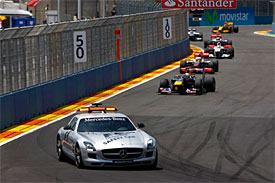 The safety car leads the field in Valencia