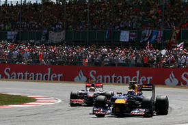 Mark Webber leads at Silverstone