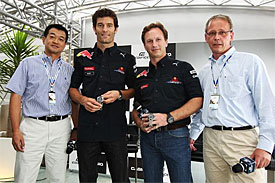 Mark Webber during a Casio press conference