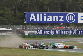 The Force Indias get tangled up on lap one at Hockenheim