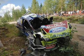 Mikko Hirvonen's crashed Ford in Finland