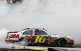 Greg Biffle celebrates his victory at Pocono, 2010