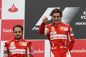Felipe Massa and Fernando Alonso on the Hockenheim podium