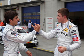 Bruno Spengler and Paul di Resta congratulate each other after Oschersleben qualifying