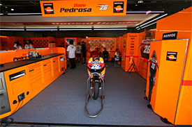 Dani Pedrosa's empty garage at Motegi