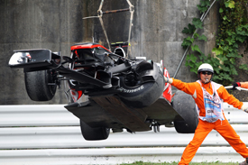 Lewis Hamilton's crashed car at Suzuka
