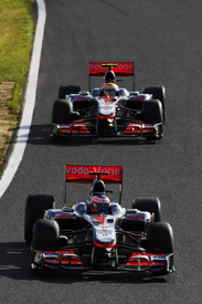 Jenson Button leads Lewis Hamilton at Suzuka