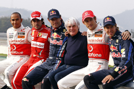 The five title contenders pose with Bernie Ecclestone