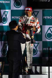 Lewis Hamilton on the Korea podium