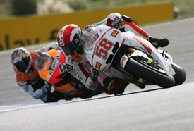 Marco Simoncelli leads Andrea Dovizioso at Estoril